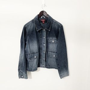 Sundance denim jacket zipper and button up